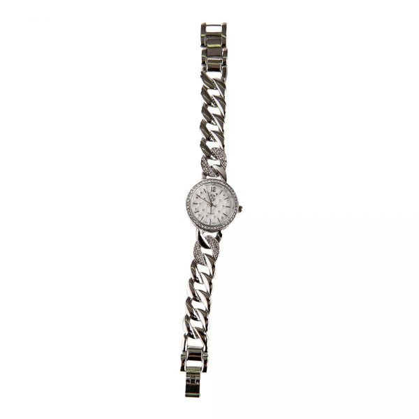 montre ronde strass c bracelet chaine maillons femme christian