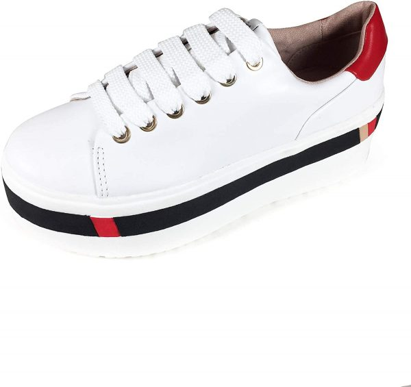 Stradivarius White Sneaker With Black and Red 2
