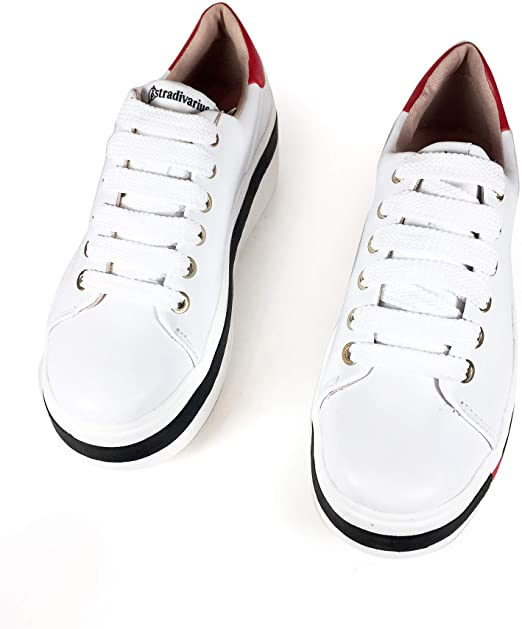 Stradivarius White Sneaker With Black and Red 3