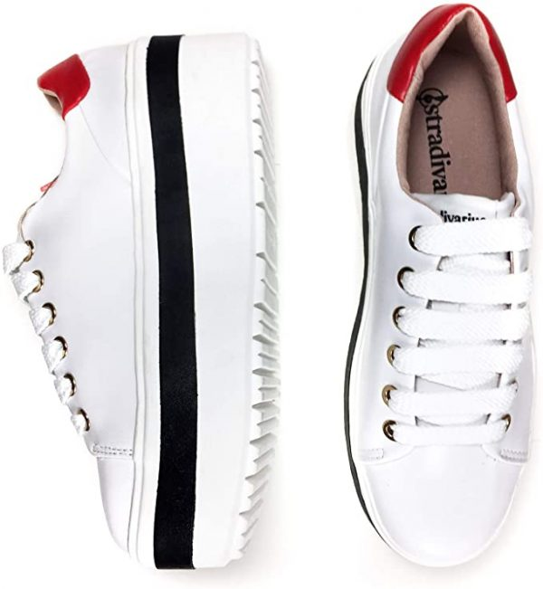 Stradivarius White Sneaker With Black and Red 5
